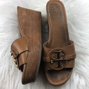 Tory Burch tan & gold Patti wedge platform sandal